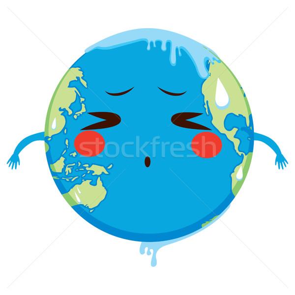 Globalne ocieplenie cute ziemi charakter cierpienie Zdjęcia stock © Kakigori