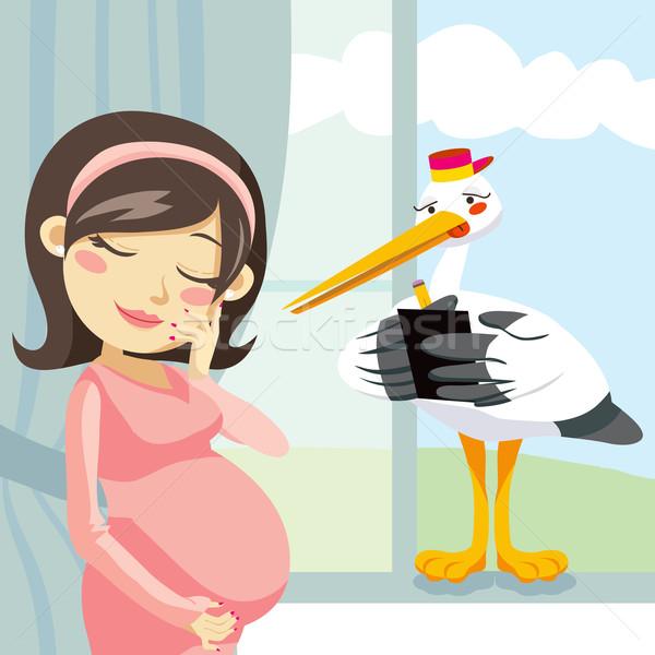 Gondolkodik terhesség gólya jegyzetel terhes nő jó Stock fotó © Kakigori