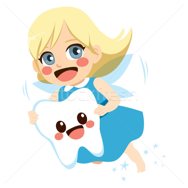 Stock foto: Zahn · Fee · Mädchen · cute · unter