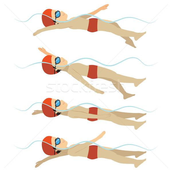 Swimming Man Backstroke Style Stock photo © Kakigori