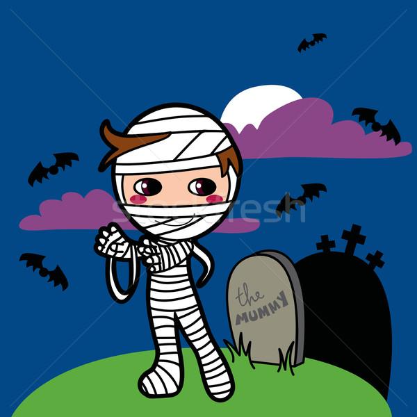 Zdjęcia stock: Chłopca · mały · kostium · grobu · halloween · trawy
