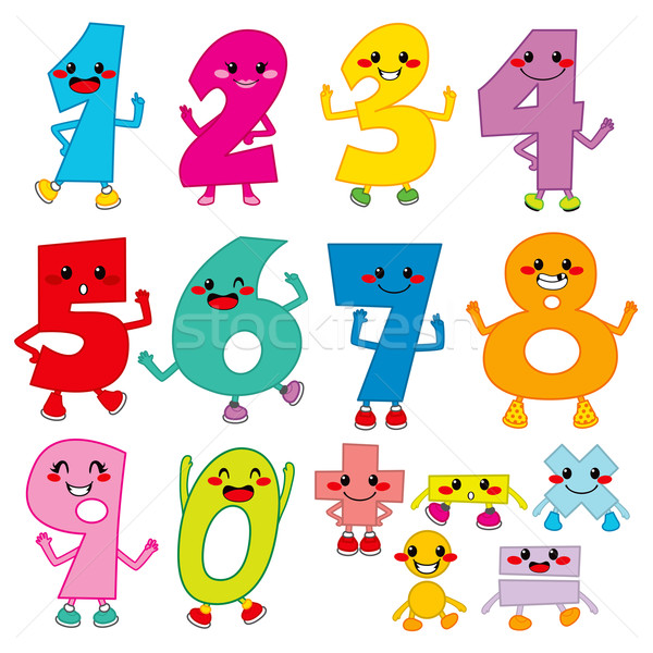 Funny Cartoon Numbers Stock photo © Kakigori