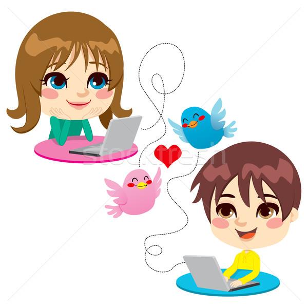 Tatlı çocukluk sevmek iki çocuklar Stok fotoğraf © Kakigori