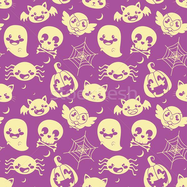 Halloween fioletowy wzór elementy Zdjęcia stock © Kakigori