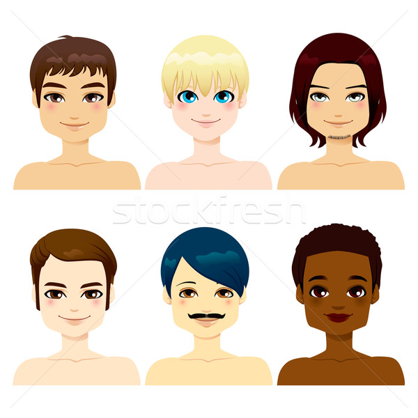 Több nemzetiségű jóképű férfiak csoport arcok különböző Stock fotó © Kakigori