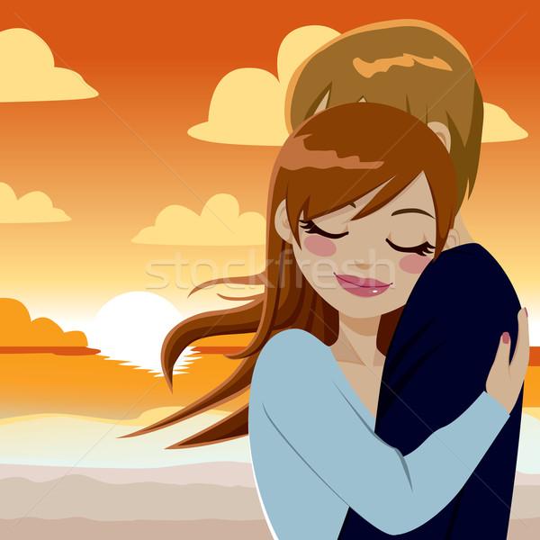情熱的な 日没 抱擁 美しい 愛 ストックフォト © Kakigori