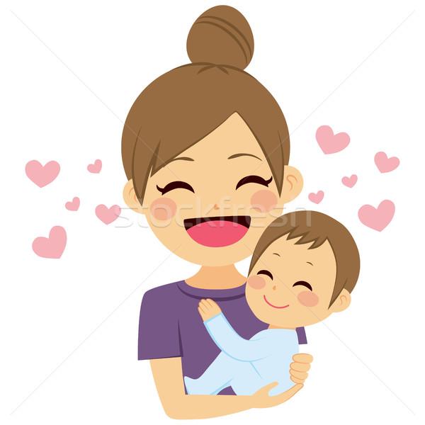 Foto stock: Mãe · belo · jovem · pequeno