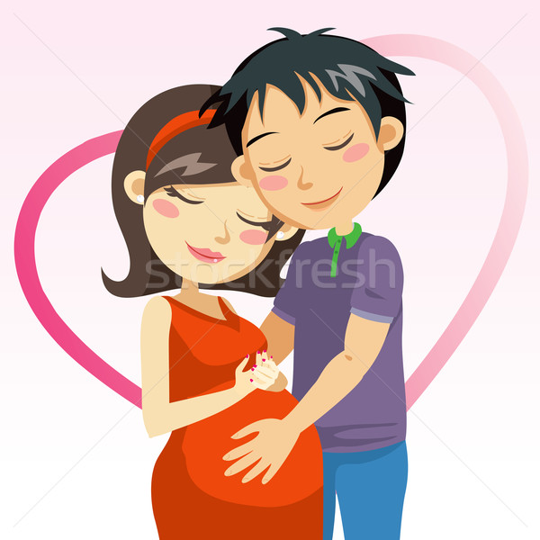 Amour grossesse homme toucher ventre enceintes Photo stock © Kakigori