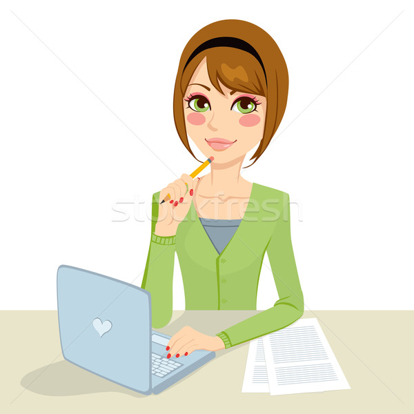 Pensativo morena secretario hermosa oficina mujer Foto stock © Kakigori