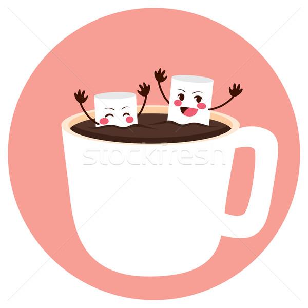 Marshmallows Bathing on Cocoa Stock photo © Kakigori