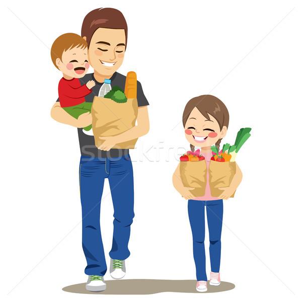 Apa élelmiszer bolt gyerekek sétál tart Stock fotó © Kakigori