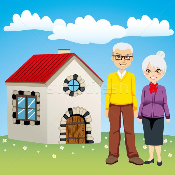 édes nyugdíj ház idős pár áll öreg Stock fotó © Kakigori