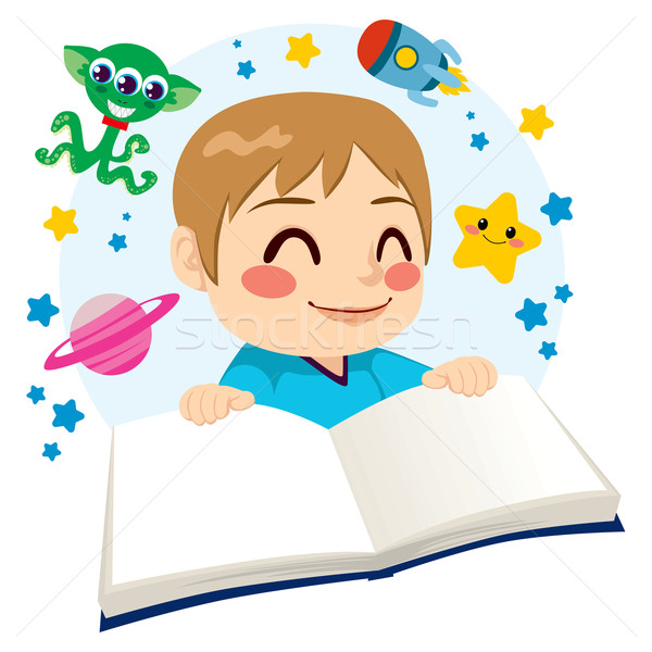 Boy Reading Science Fiction Book Stock photo © Kakigori