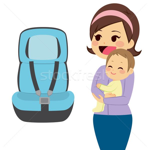 Baby auto zitting mooie jonge moeder Stockfoto © Kakigori
