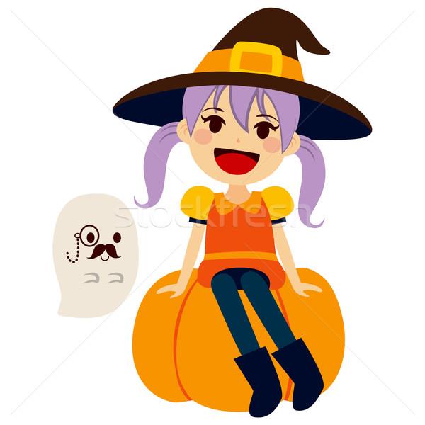 Turuncu cadı beyefendi hayalet sevimli küçük kız Stok fotoğraf © Kakigori