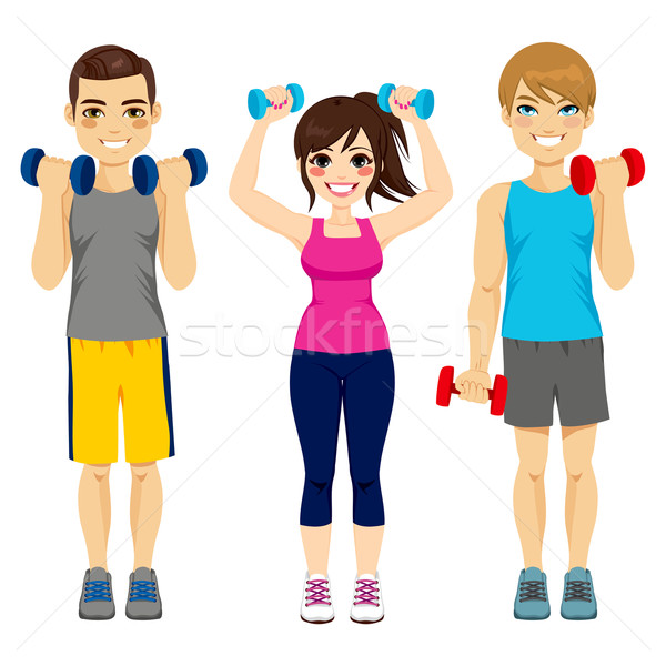 Fitness Dumbbell Group Stock photo © Kakigori