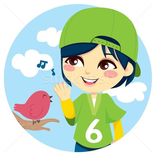 прослушивании певчая птица зеленый Cute Сток-фото © Kakigori