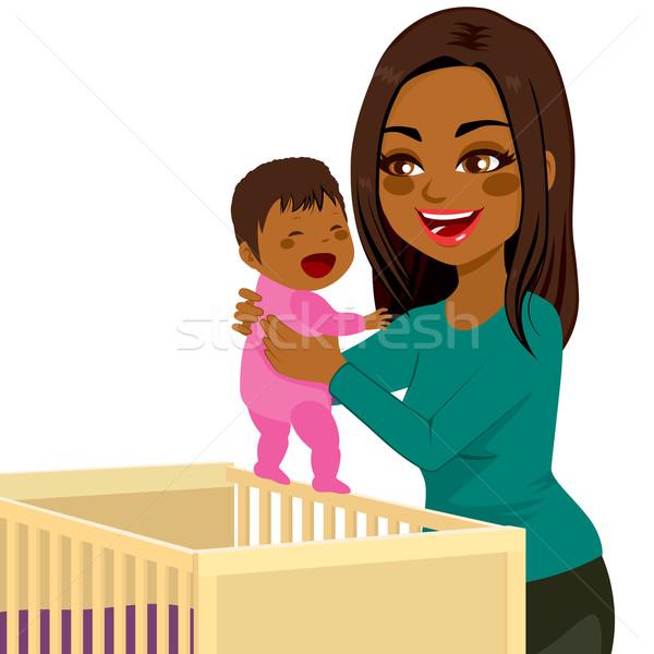 Young Mom Baby Crib Stock photo © Kakigori