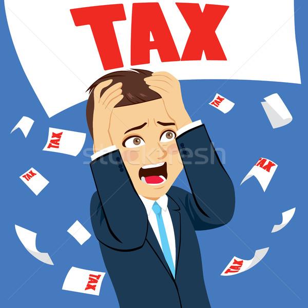Ijedt üzletember adó fiatal kezek fej Stock fotó © Kakigori