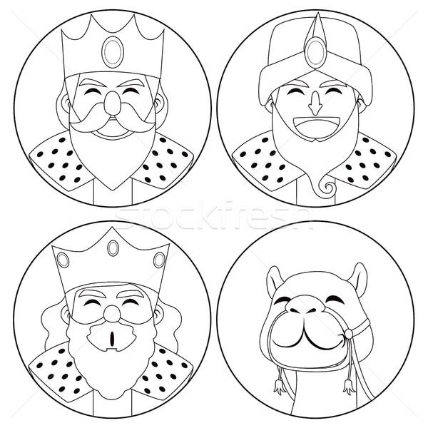 Három királyok teve monokróm vonal művészet illusztráció Stock fotó © Kakigori