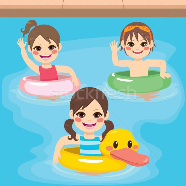 детей надувной плаванию три Cute мало Сток-фото © Kakigori