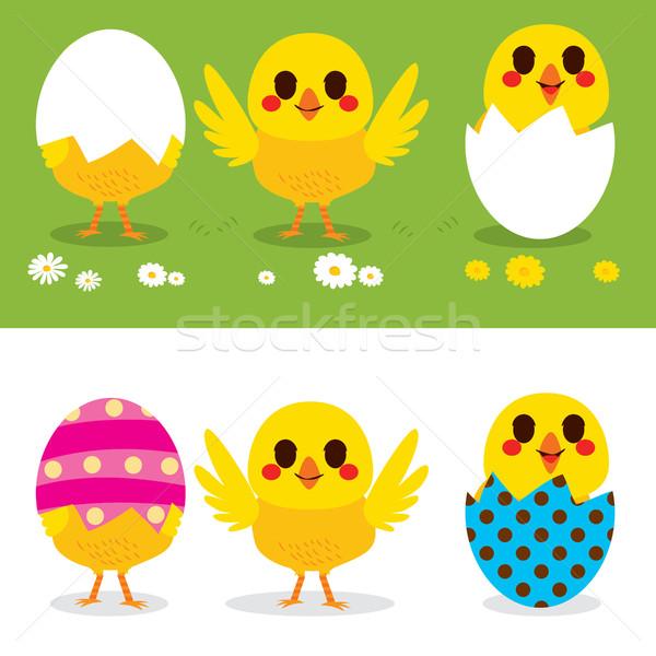 Христос воскрес цыплят Cute мало красочный яйца Сток-фото © Kakigori