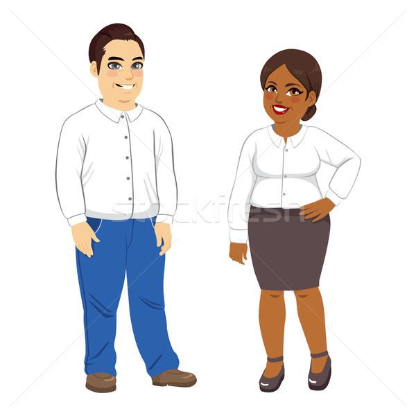 Excesso de peso homem mulher ilustração africano americano caucasiano Foto stock © Kakigori