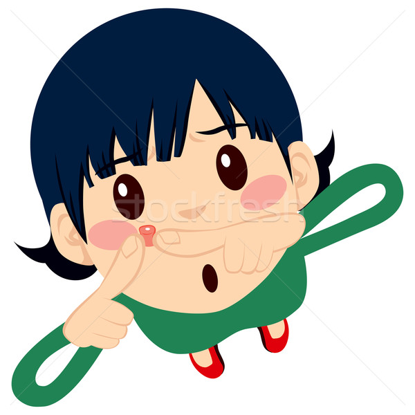 Cute Girl Squeezing Pimple Stock photo © Kakigori