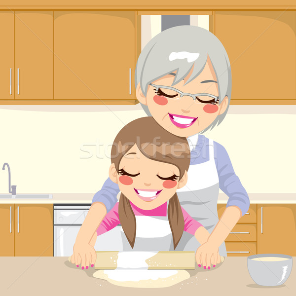 Grandmother Teaching Granddaughter Make Pizza Stock photo © Kakigori