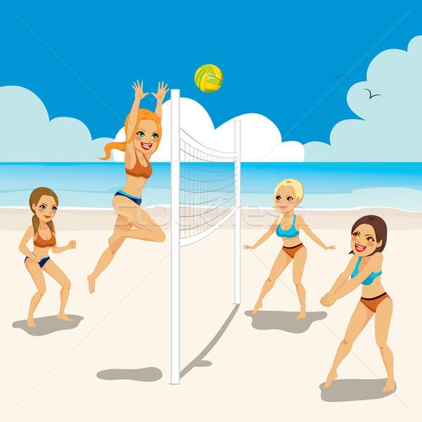 Kobiet gry plaży siatkówka cztery piękna Zdjęcia stock © Kakigori