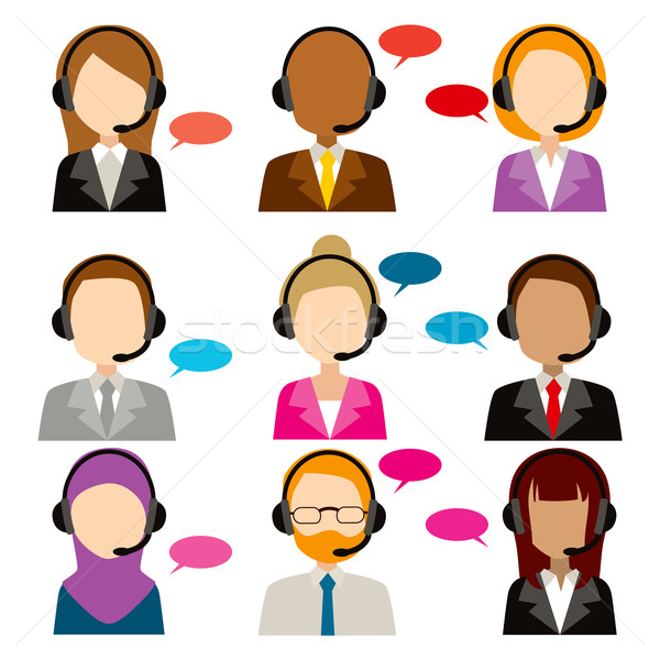 Call Center Service Diversity Icons Stock photo © Kakigori