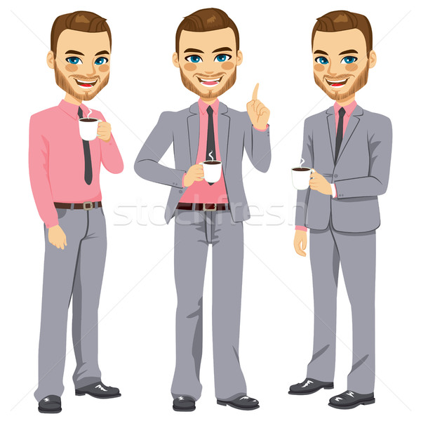 Happy Businessman Coffee Break Stock photo © Kakigori