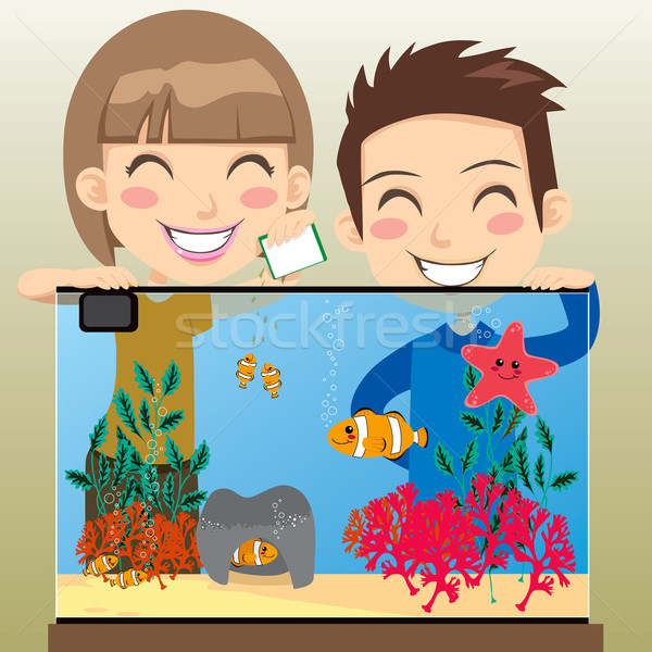 Happy Kids Aquarium Stock photo © Kakigori