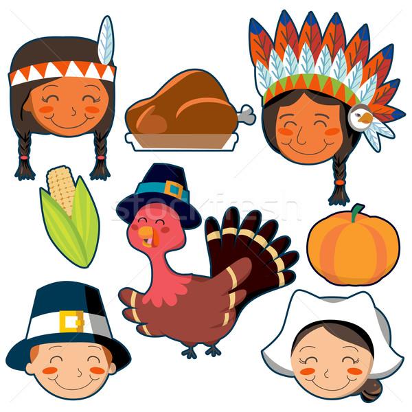 Thanksgiving Day faces and elements set Stock photo © Kakigori