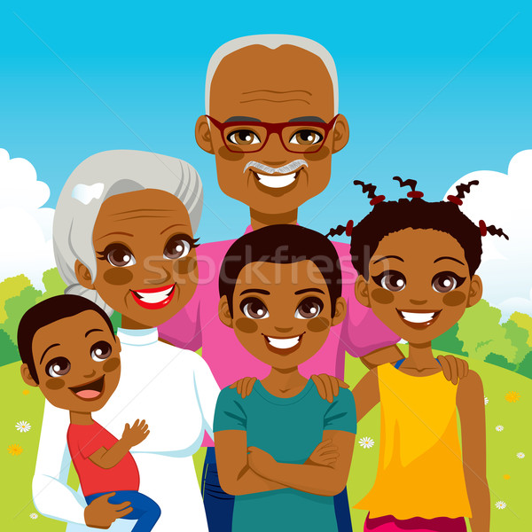 African American Grandparents With Grandchildren Stock photo © Kakigori