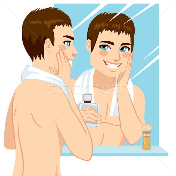 Man scheren knappe man gezicht spiegel Stockfoto © Kakigori