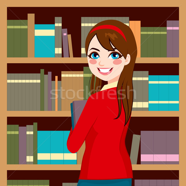 Kadın kütüphane güzel esmer kütüphaneci Stok fotoğraf © Kakigori