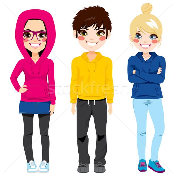 Foto d'archivio: Giovani · adolescenti · colorato · casuale · vestiti