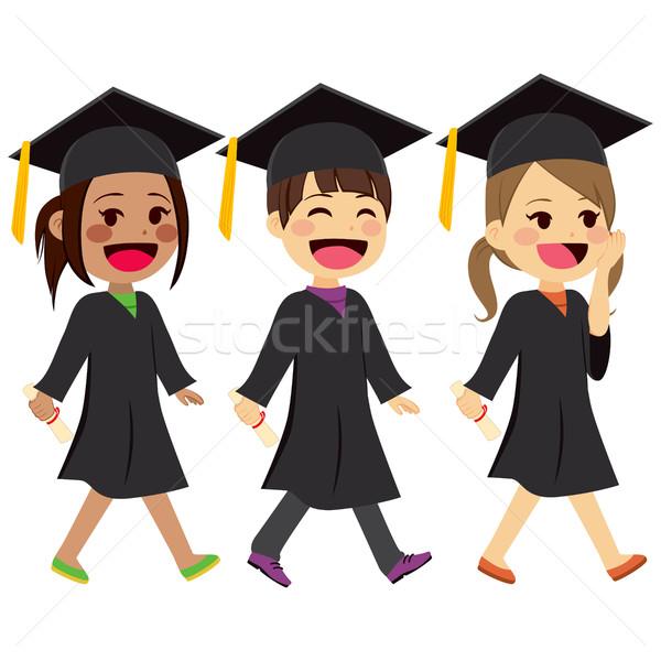 Afstuderen kinderen lopen cute toga Stockfoto © Kakigori