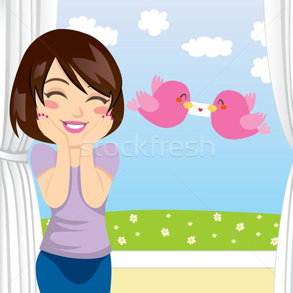 Szeretet levél meglepetés gyönyörű nő boldog kettő Stock fotó © Kakigori