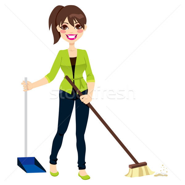 Woman Sweeping Floor Stock photo © Kakigori