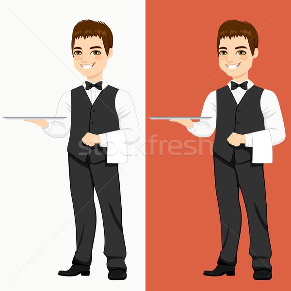 Waiter Standing With Empty Tray Stock photo © Kakigori
