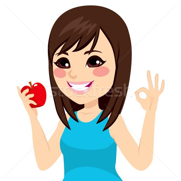 Menina maçã okay belo jovem adolescente Foto stock © Kakigori