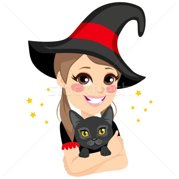 十代の 魔女 黒猫 美しい ビッグ ストックフォト © Kakigori