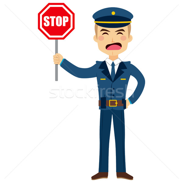 Rendőr stoptábla illusztráció tart stop közlekedési tábla Stock fotó © Kakigori