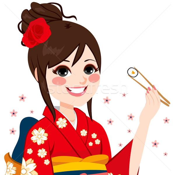 Kimonó nő szusi gyönyörű japán visel Stock fotó © Kakigori