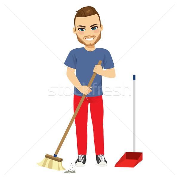Man Sweeping With Broom Stock photo © Kakigori