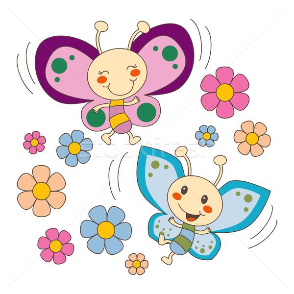 Mariposas · amor · flores · rosa · azul · bebé - ilustración ...
