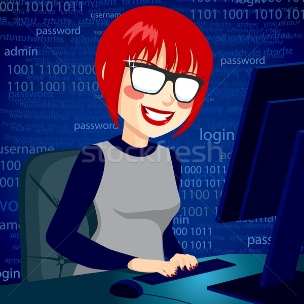 Hacker Woman With Computer Stock photo © Kakigori