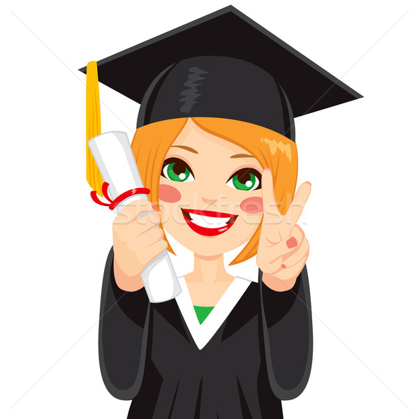 Red Haired Graduation Girl Stock photo © Kakigori